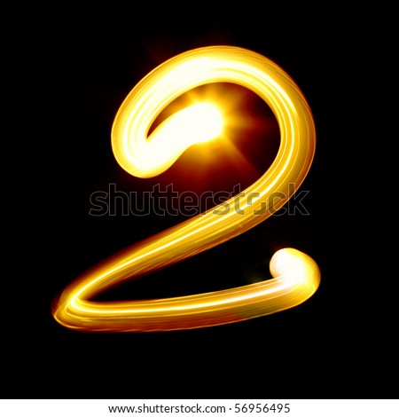 Created by light digits over black background - stock photo