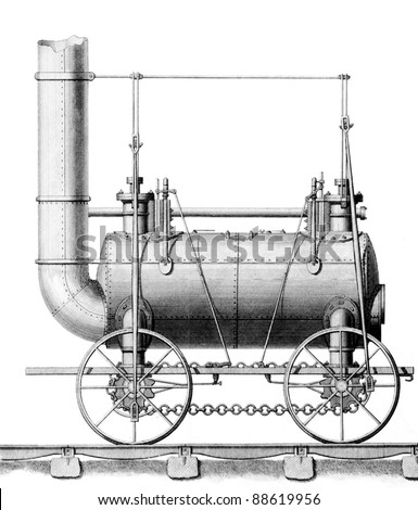 Created circa 1816 By: George Stephenson and William Losh, for patent filing. George Stephenson considered inventor of the first steam locomotive engine for railways. Line drawing artwork steam engine