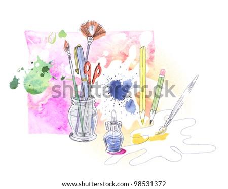 Creating art - stock photo