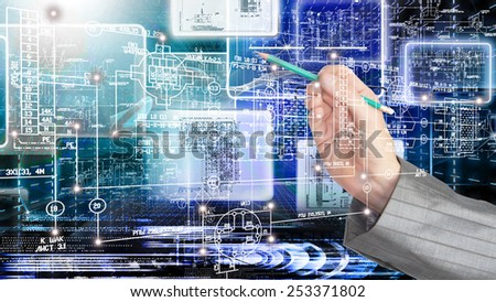 Creation industrial engineering connection technologies - stock photo