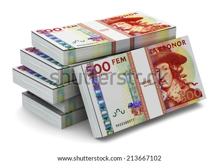 Creative abstract banking, money making and business success financial concept: heap of stacks of 500 Swedish krona banknotes isolated on white background - stock photo