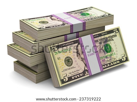 Creative abstract banking, money making and business success financial concept: heap of stacks of 5 dollars banknotes isolated on white background - stock photo