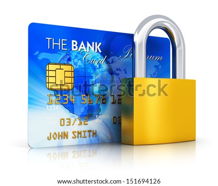 Creative abstract business banking money financial security, online shopping and corporate accounting concept: blue credit card with bronze padlock or key lock isolated on white background - stock photo