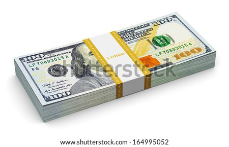 Creative abstract business, financial success and making money concept: stack of new 100 US dollar 2013 edition banknotes or bills isolated on white background - stock photo