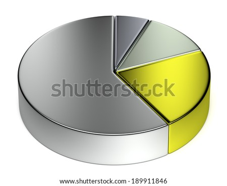 Creative abstract business statistics, financial analysis, precious metal trading concept: metallic 3D pie chart on white background - stock photo