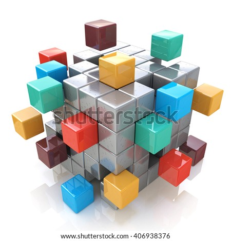 Creative abstract business teamwork, internet and communication concept: colorful cubic structure with assembling metallic cubes on white background.3D Illustration - stock photo