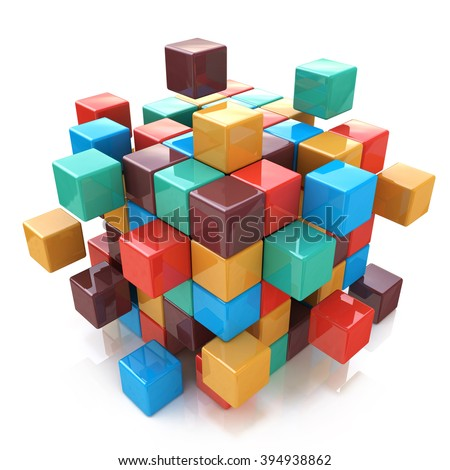 Creative abstract business teamwork, internet and communication concept: glossy color cubic structure with assembling colored cubes isolated on white background with reflection effect - stock photo