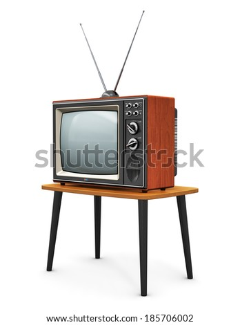 Creative abstract communication media and television business concept: old retro color wooden home TV receiver set with antenna on wood table isolated on white background