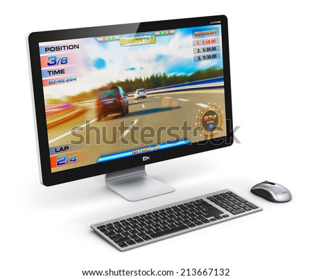Creative abstract computer gaming and entertainment technology concept: modern black gamer desktop PC with video game isolated on white background - stock photo