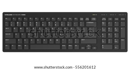 Creative abstract digital peripheral technology business concept: 3D render illustration of the black wireless computer PC keyboard isolated on white background