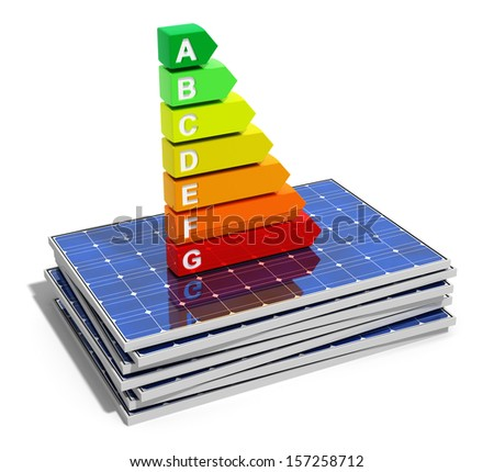 Creative abstract energy efficiency, power saving, environmental ecology conservation and solar energy business industry concept: energy efficiency scale on stack of solar panels isolated on white - stock photo