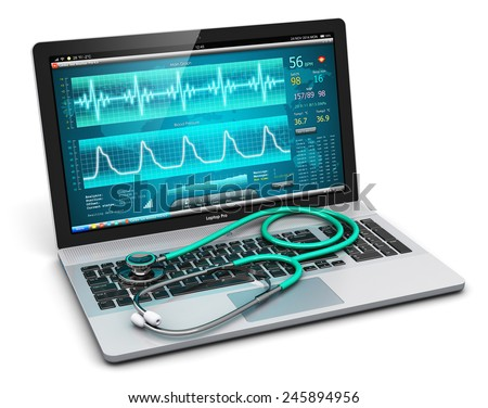 Creative abstract healthcare, medicine and cardiology tool concept: laptop or notebook computer with medical cardiologic diagnostic test software on screen and stethoscope isolated on white background - stock photo