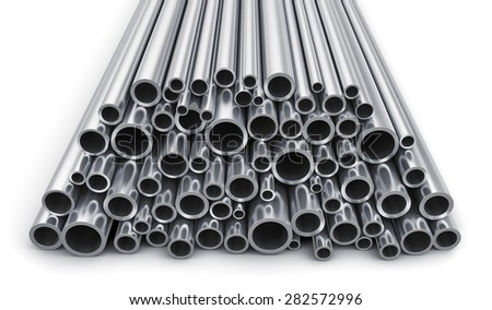 Creative abstract heavy metallurgical industry and industrial manufacturing business production concept: heap of shiny metal steel pipes isolated on white background - stock photo