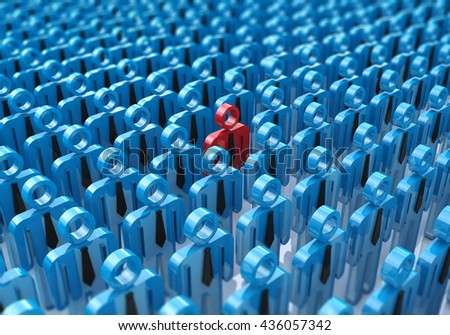 Creative abstract individuality, uniqueness and leadership business concept: single red 3D people figure in crowded group of blue figures with selective focus effect. 3d illustration - stock photo