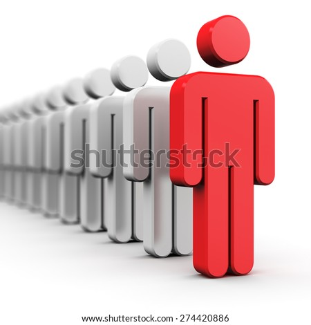Creative abstract leadership, business success and competition concept: single red 3D people figure in front of row of white figures isolated on white background with selective focus effect - stock photo