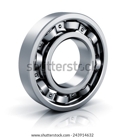 Creative abstract mechanics, industrial machinery and manufacturing industry concept: steel shiny ball bearing isolated on white background with reflection effect