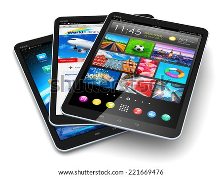 Creative abstract mobile communication technology and mobility concept: group of modern touchscreen tablet PC computers with color business application interfaces isolated on white background - stock photo