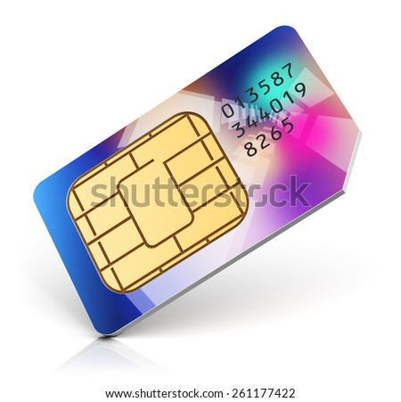 Creative abstract mobile telecommunication, wireless technology and mobility business communication internet concept: color SIM card for mobile phone or smartphone isolated on white background - stock photo