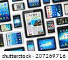 Creative abstract mobility and digital wireless communication technology business concept: group of tablet computer PC and modern touchscreen smartphones or mobile phones isolated on white background - stock vector