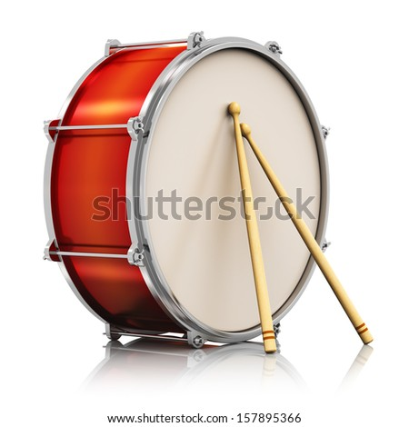 Creative abstract musical instrument concept: red drum with pair of drumsticks isolated on white background with reflection effect
