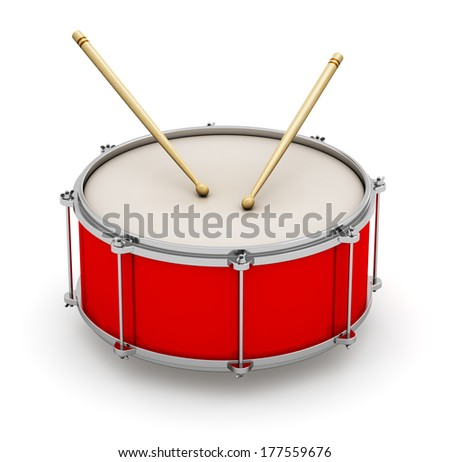 Creative abstract musical instrument concept: red drum with pair of drumsticks isolated on white background - stock photo