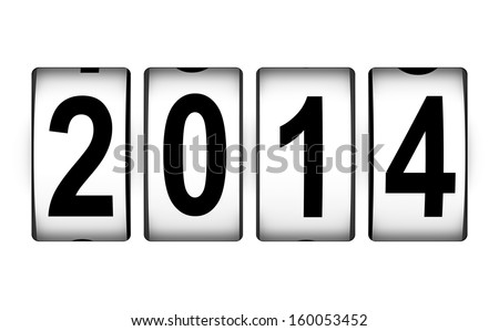 Creative abstract New Year 2014 beginning celebration concept isolated on white background - stock photo