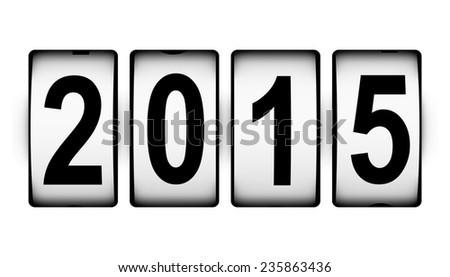 Creative abstract New Year 2015 beginning celebration concept isolated on white background - stock photo