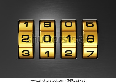 Creative abstract New Year 2016 concept: macro view of combination lock with 2016 code text - stock photo