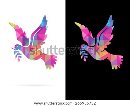 Creative Abstract Polygon Mosaic Style Dove Symbol illustrated in Flight isolated on White or Black Background. - stock photo