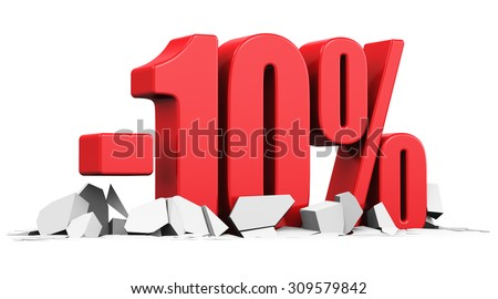 Creative abstract sale and discount business commercial advertisement concept: red 10 percents price cut off text on cracked surface isolated on white background - stock photo