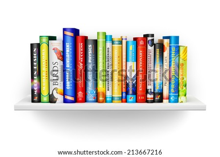 Creative abstract science, knowledge, education, back to school, business and corporate office life concept: bookshelf with color hardcover books isolated on white background - stock photo
