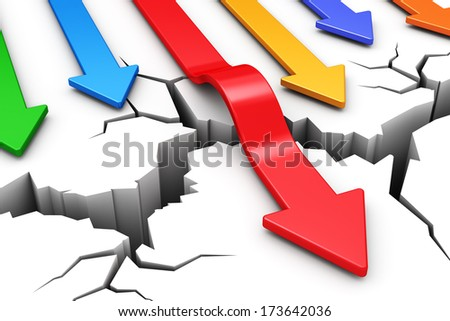 Creative abstract success, leadership and business competition challenge corporate concept: red arrow overcoming crack obstacle isolated on white background - stock photo