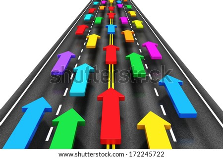 Creative abstract traffic, transportation, shipping and logistics, travel and communication business internet concept: group of color arrows moving by the highway road isolated on white background - stock photo