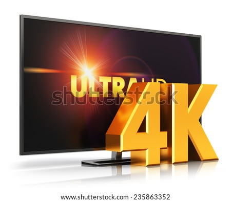 Creative abstract ultra high definition digital television screen technology concept: 4K UltraHD TV or computer PC monitor display screen isolated on white background with reflection effect - stock photo