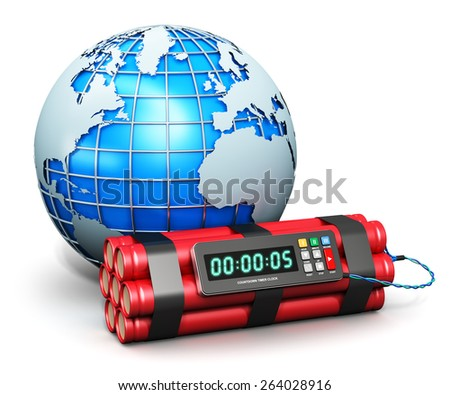 Creative abstract world war global threat military technology concept: blue metallic Earth globe planet and time bomb explosive dynamite with digital countdown timer clock isolated on white background - stock photo