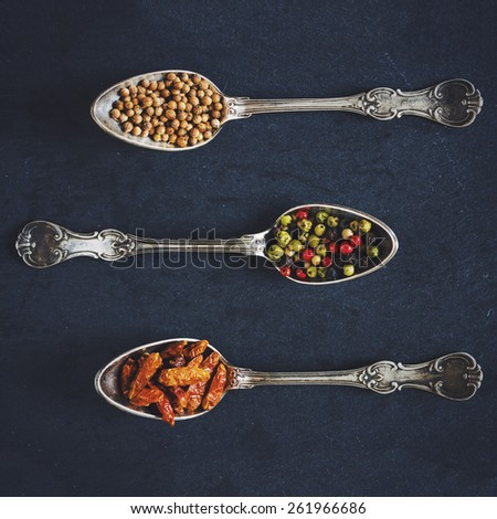Creative and colorful arrangement of spices. Food styling. Haze effect. Square composition. - stock photo