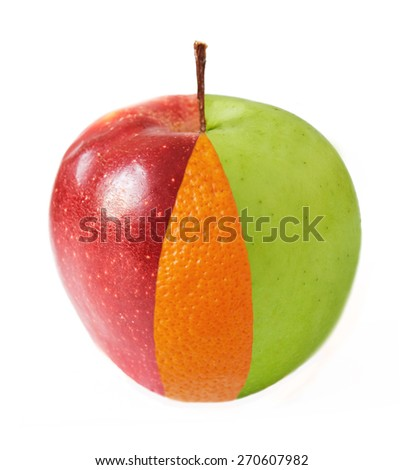 Creative apple combined from red, green apples and orange half isolated on white. Concept - stock photo