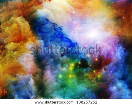 Creative arrangement of dreamy forms and colors as a concept metaphor on subject of dream, imagination, fantasy and abstract art
