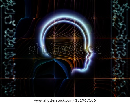 Creative arrangement of lines of human head, fractal grids and technology related symbols as a concept metaphor on subject of artificial intelligence, science, education and technology