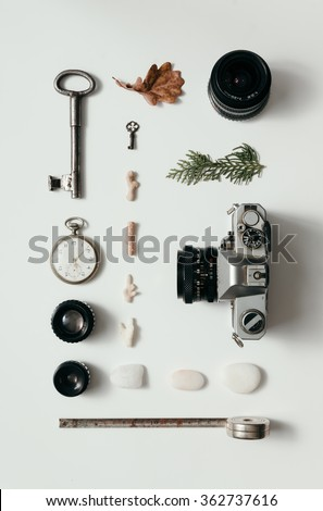 Creative arrangement of things on desk - stock photo