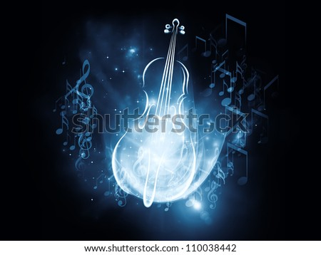 Creative arrangement of violin graphic, musical notes and design elements as a concept metaphor on subject of classical  and folk music, art, performance and entertainment - stock photo