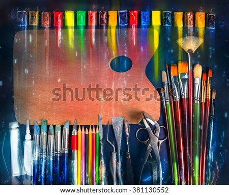 Creative art background.Artist tools.