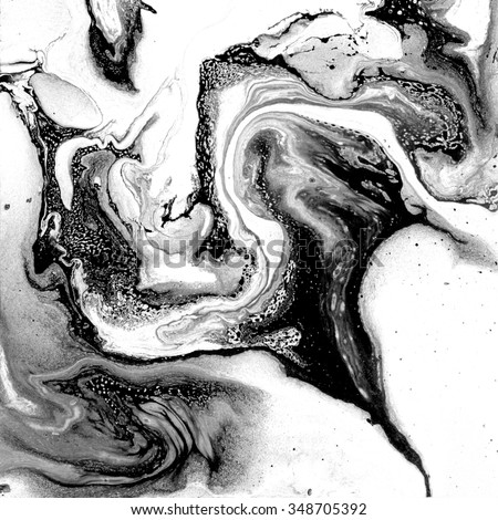 Creative art illustration. Marbled surface. Beautiful unique handmade texture. Liquid ink. Painted waves. Unusual artistic image. Abstract black and white art. Artistic wallpaper. Stone background. - stock photo