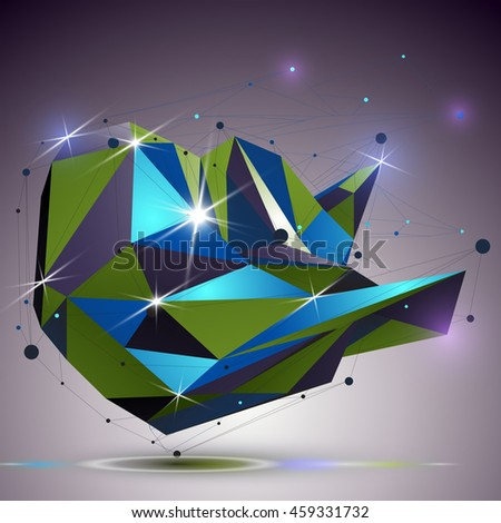 Creative asymmetric polished object with lines mesh. 3d colorful shiny complicated engineering abstraction with lights effect. Bright netting modeling element. - stock photo