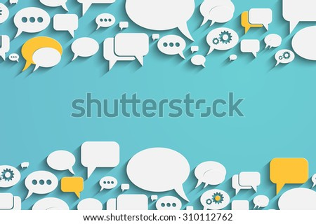 Creative bacground with colorful speech bubbles and dialog balloons - stock photo