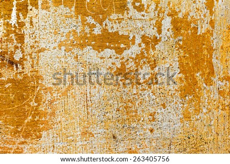 Creative background beautiful concrete casually painted yellow paint, cracks and scratches. Grungy concrete surface. Great background or texture for your project. - stock photo