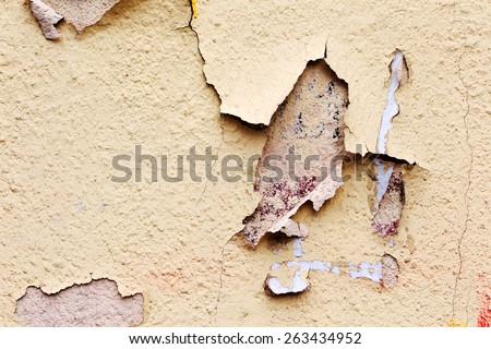 Creative background concrete wall with cracks and scratches painted yellow paint, needs urgent repair. For creative unusual vintage design - stock photo