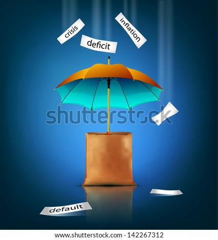 creative background for business with an umbrella, bag, - stock photo