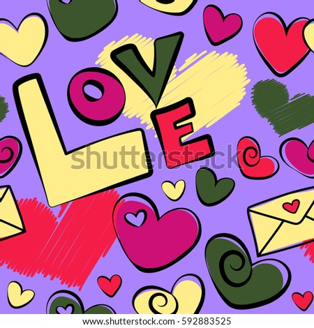 Creative Background Is Made Up Of Hearts And Love Letter In Yellow Violet Red