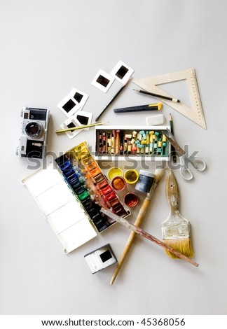 Creative Background made of art tools for drawing - stock photo